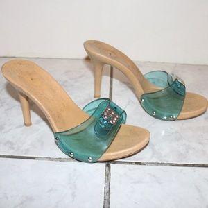 Bebe Blue Transparent Clear Strap Wooden Heels